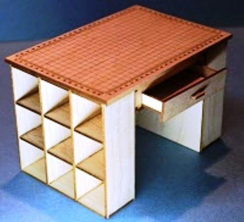 1:12 Scale Dollhouse Miniature Engraved Sewing Shelf Kit MAPLE