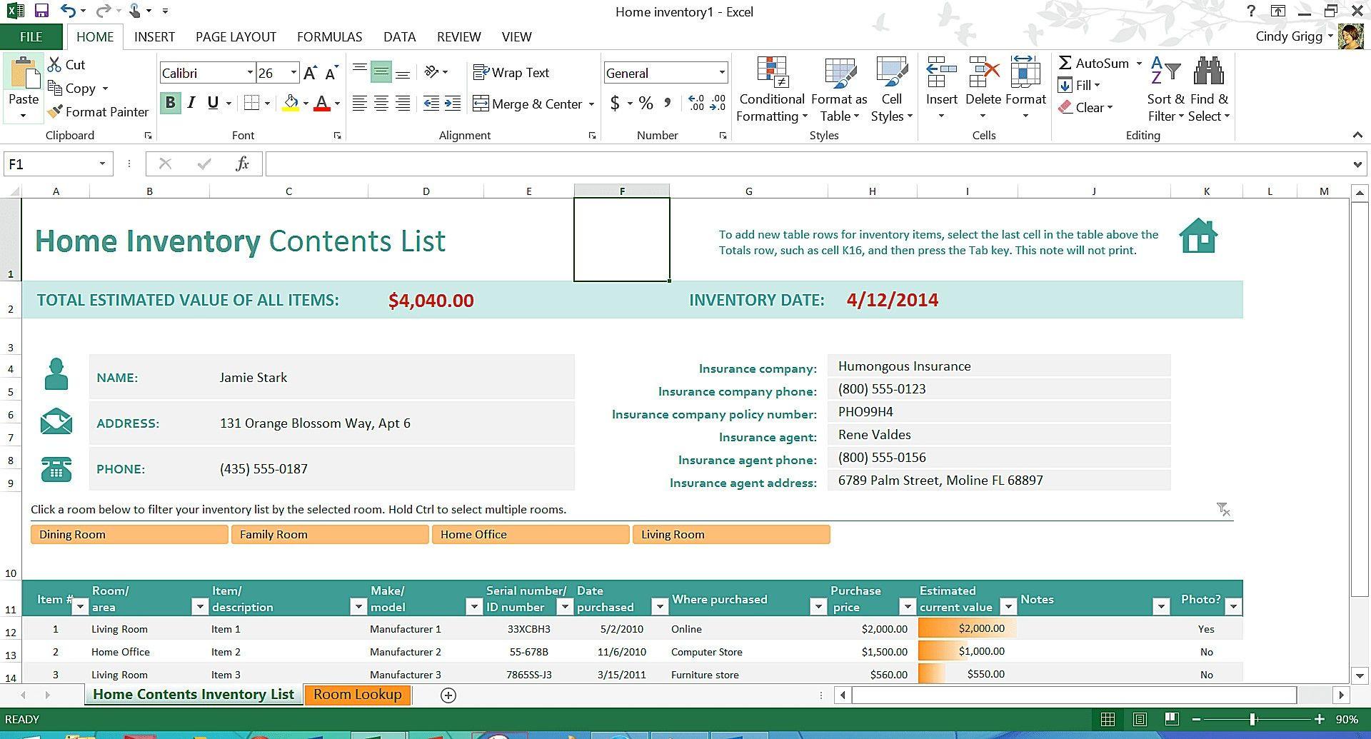 Unique Home Inventory Worksheets Exceltemplate Xls