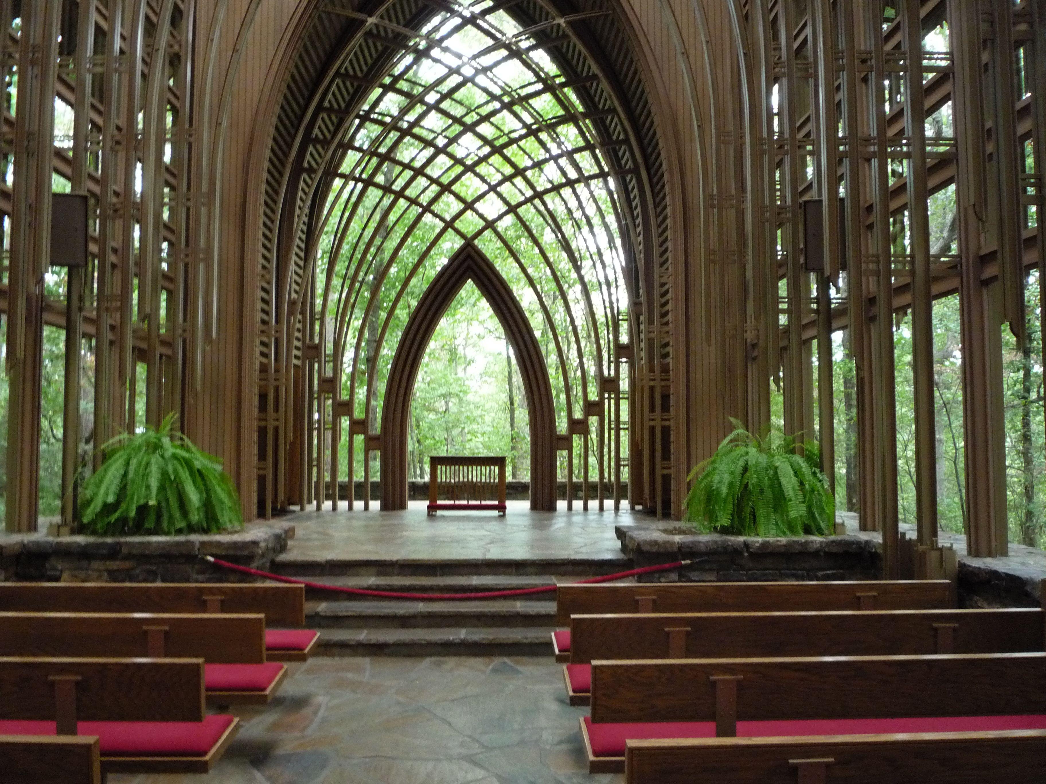 inside the Mildred B.Cooper Memorial Chapel in Bella Vista, AR ...