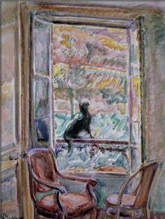Nikolaj Aleksandrovic Tarhov - Le chat noir sur la rampe de la fenêtre