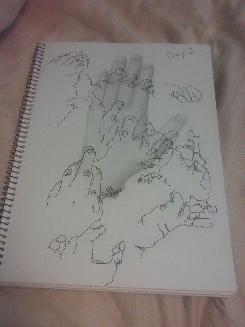 Day 3 of my AP Studio Art sketchbook. Hands drawn in graphite and ink by Julia DeStefano.