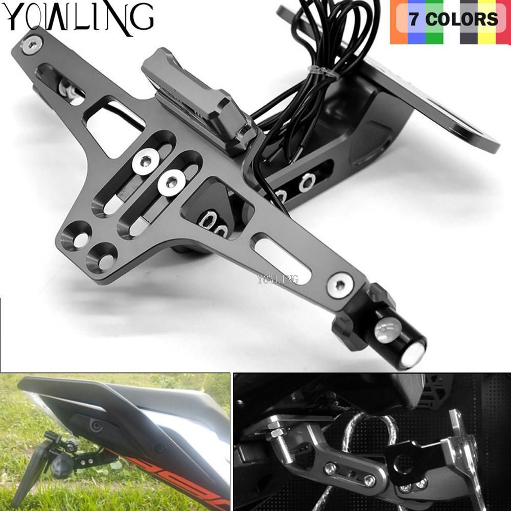Motorcycle Accessories CNC License Plate Mount Holder LED