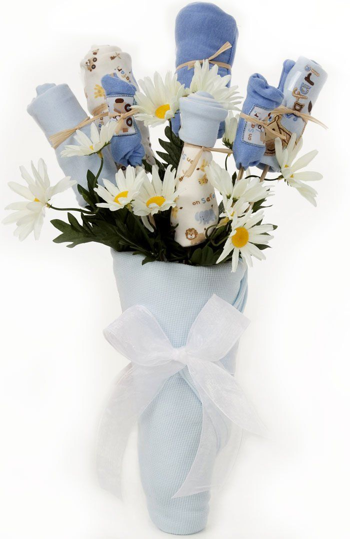 New baby boy bouquet gift blue baby clothes individually wrapped new baby boy bouquet gift blue baby clothes individually wrapped to look like flowers negle Gallery