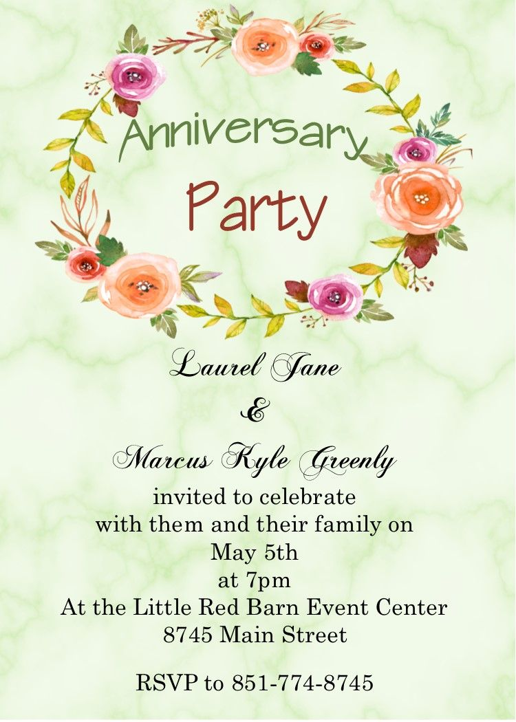 Marble And Flowers Anniversary Party Invitations Anniversary Party Invitations Party Invitations Wedding Anniversary Invitations