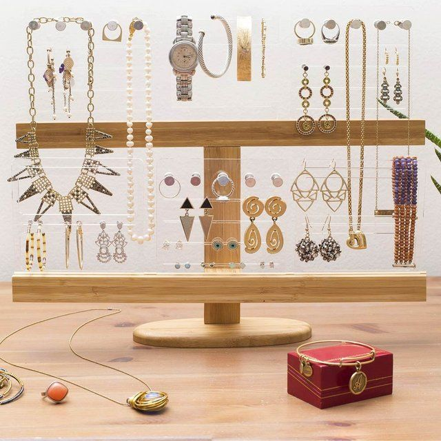 Bamboo Acrylic Jewelry Organizer Stand Jewelry organizer stand