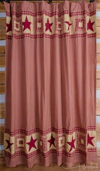 Colonial Star Burgundy Shower Curtain In 2020 Primitive