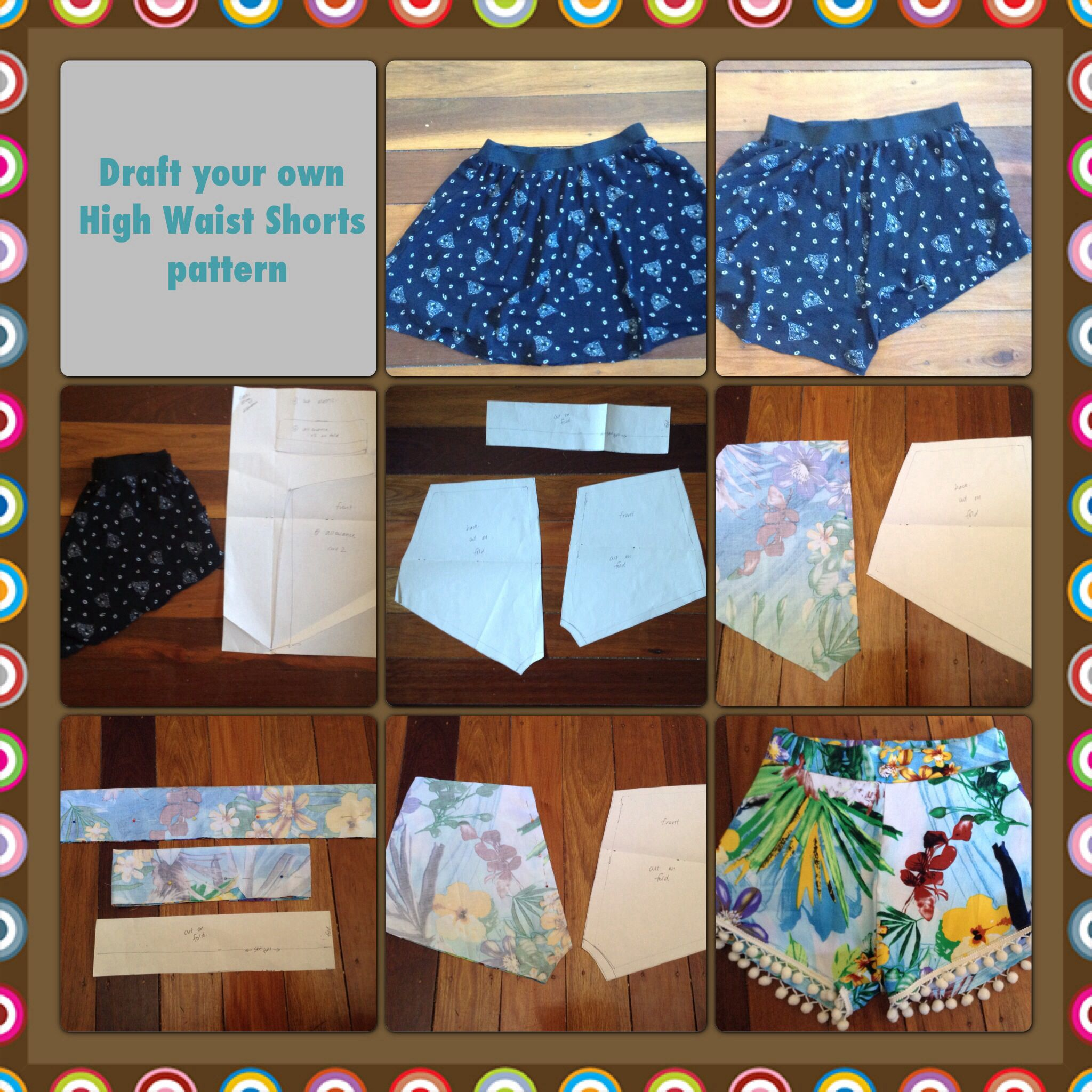 Draft your own High Waist Shorts pattern. | Things to make ...