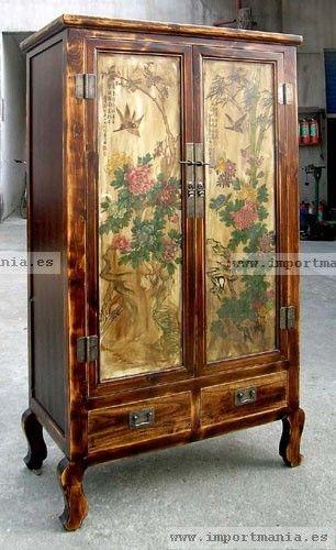 Armario oriental madera decorado muebles chinos - Muebles decorados a mano ...