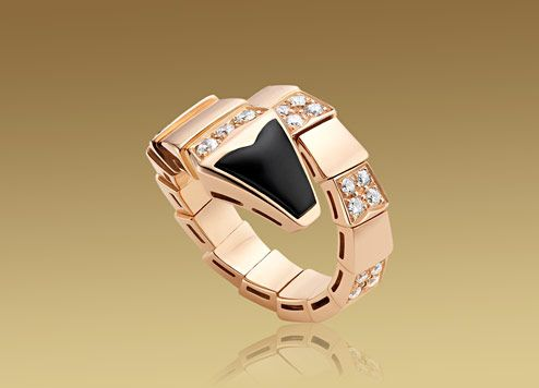 bulgari serpenti ring in 18kt pink gold with black onyx and pav diamonds an855315