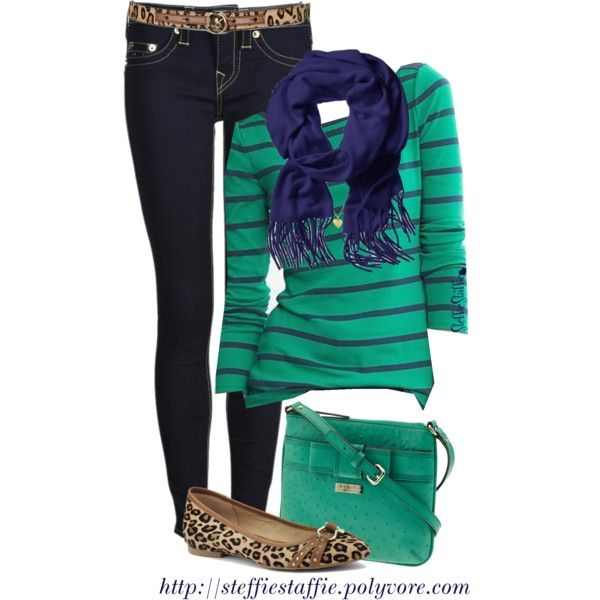 """Mixed Prints: Leopard, Green & Navy Stripes"" by steffiestaffie on Polyvore"