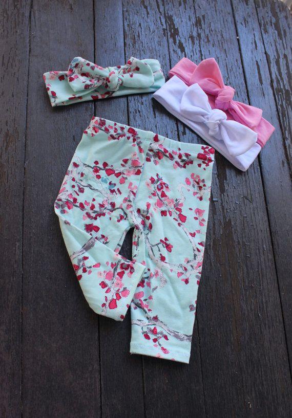Pink and Mint Cherry Blossom Print by EmmaStitchCompany on Etsy
