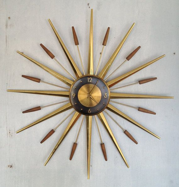 mid century modern clock 1960's Starburst Clock Mid Century modern Retro | It's About Time  mid century modern clock