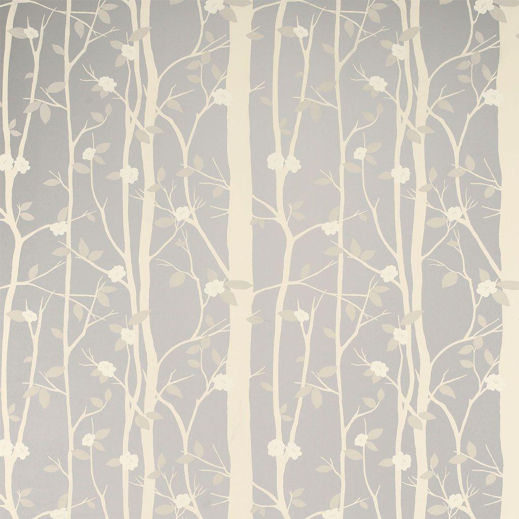 Laura Ashley Cottonwood Leaf Metallic Wallpaper Silver