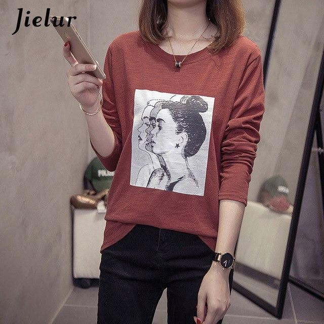 Funny Printed Long Sleeve T Shirt Autumn Comfortable Cotton Vetement Femme 2019 White Tshirt Women