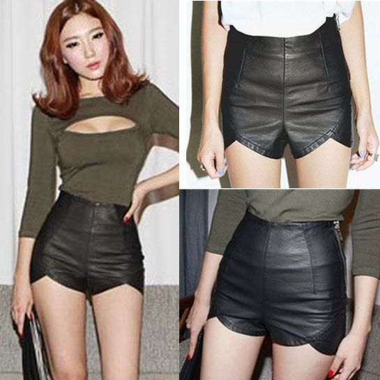 heetheadz.com high waisted black leather shorts (10 ...