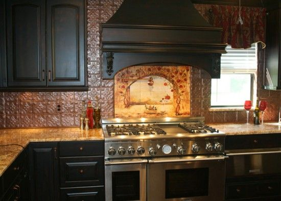 Kitchen Faux Tin Backsplash Mural Tiles By Linda Paul Kitchen