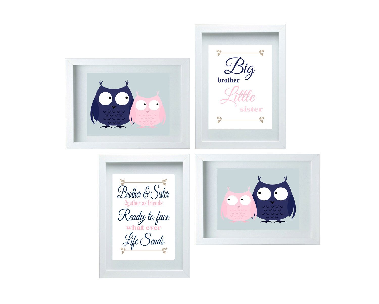 Brother Little Sister Set Boys Or Bathroom Decor Cute Wall Art Blue Pink