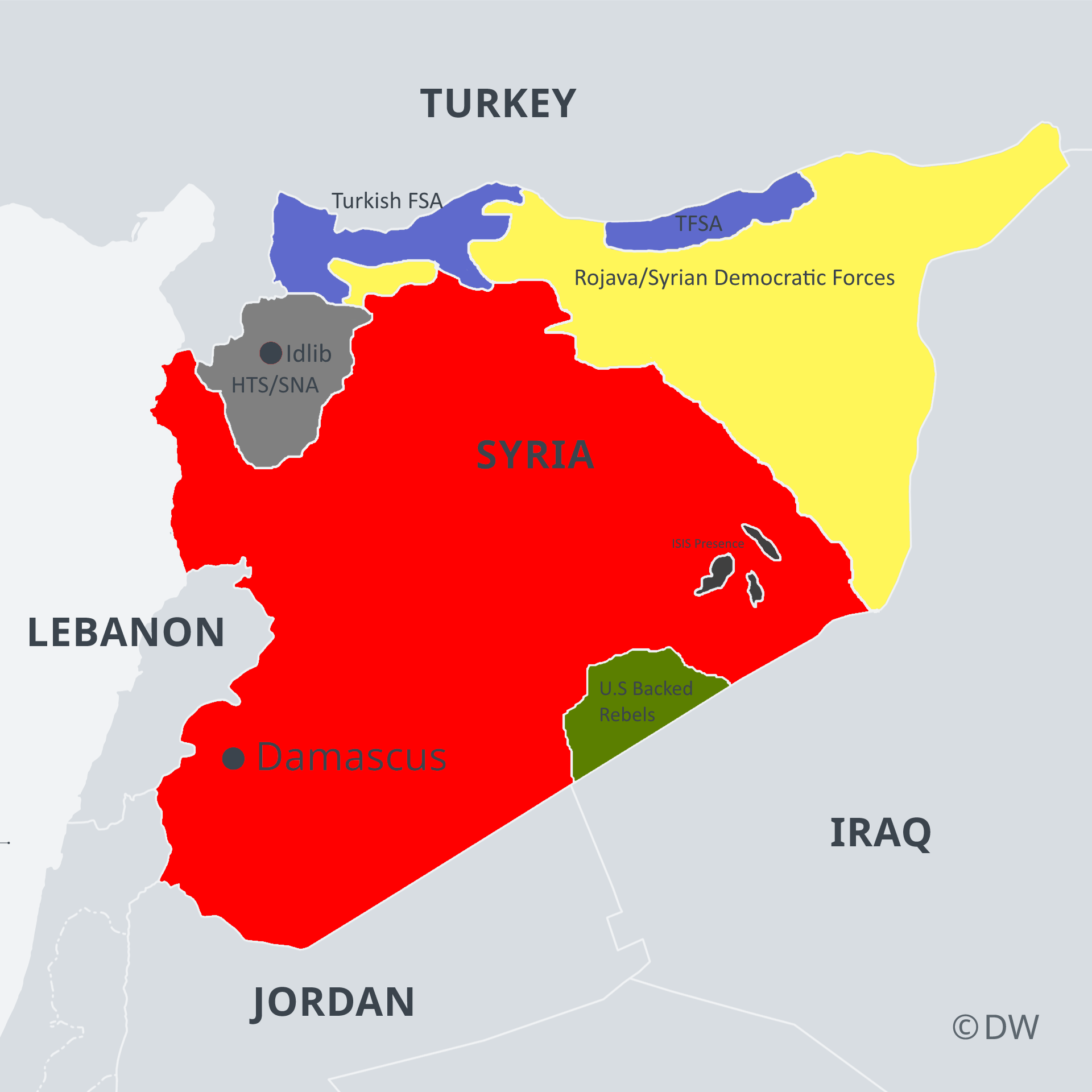 Map Of Syrian Civil War As Of December 2019 In 2020 Syrian Civil