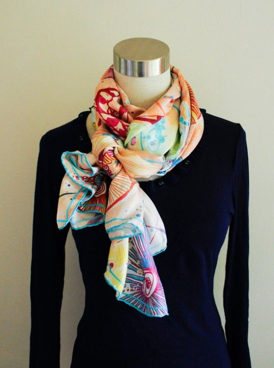 side scrunch knot tie your scarf use a rectangular