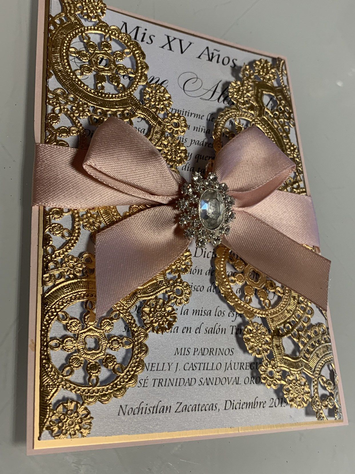 Gold and Blush quinceañera invitations Etsy in 2020