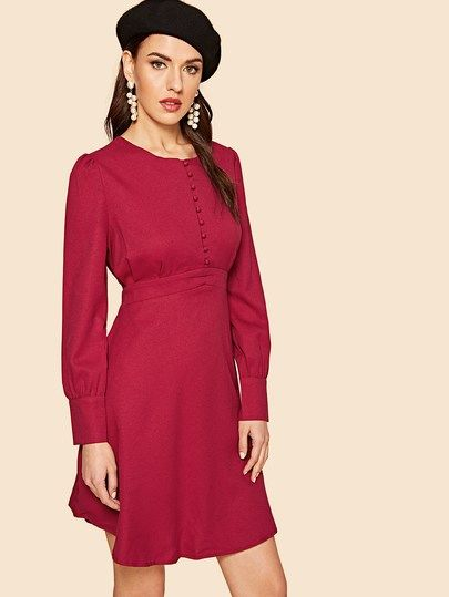 c15a5d46094 80s Self Belted Buttoned Dress in 2019