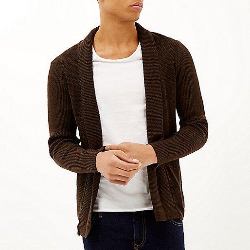 Dark brown open front cardigan £30 #RImenswear | Men's Clothing ...