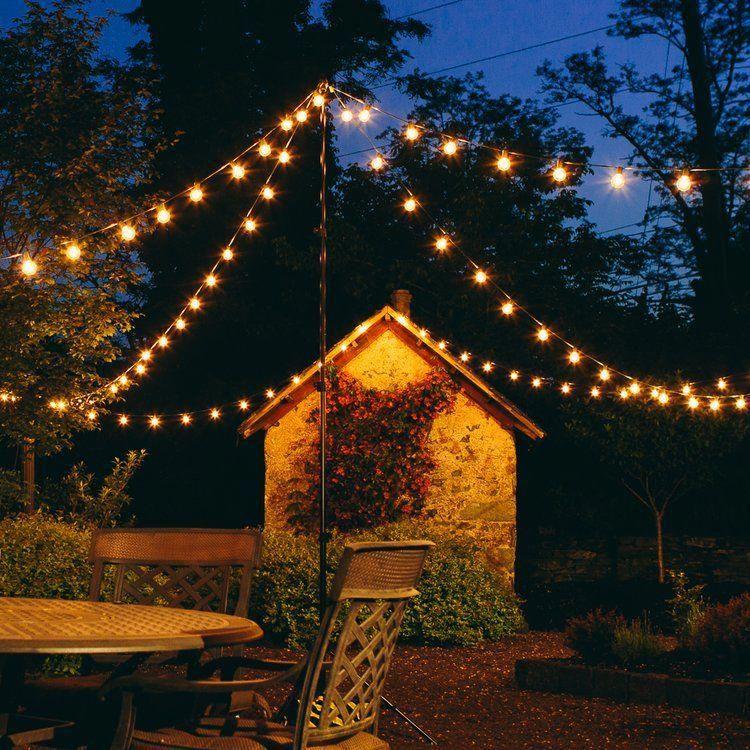 50-Light 50 ft Globe String Lights Front Yard Landscape Lighting