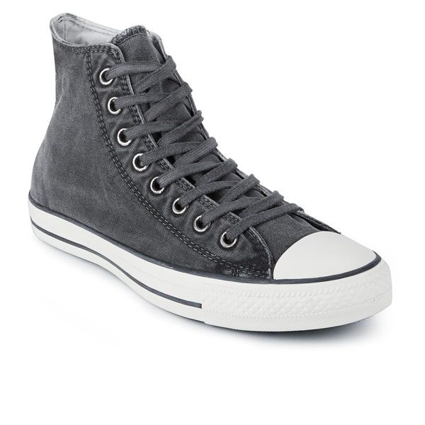 dcf12a88ab42 Converse Men s Chuck Taylor All Star Washed Canvas Hi-Top Trainers - Converse  Black  Image 31