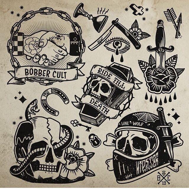 Traditional Flash Skull Tattoos: ลายสัก รอยสัก และ ไอเดียรอยสัก