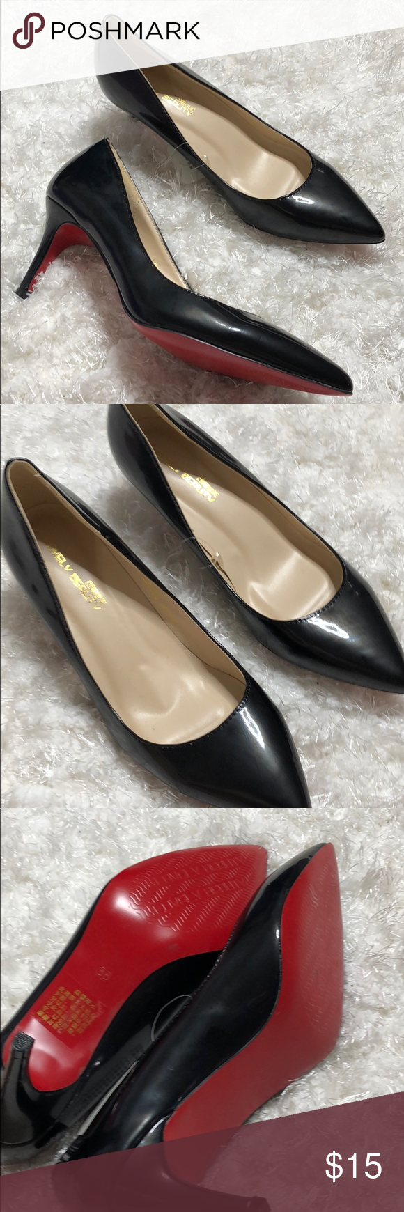 9b11672826c Black and red pointed toe pumps heels 38 nwt New with tags Matte ...