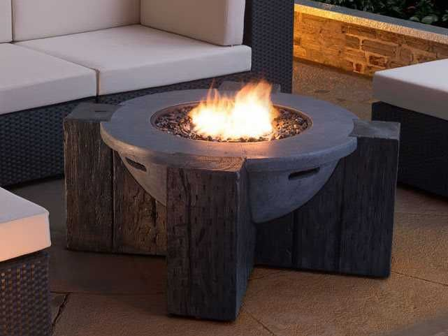 Hades Vive Gray Stainless Steel Glass Propane Fire Pit Propane Fire Pit Propane Fire Pit Table Fire Pit