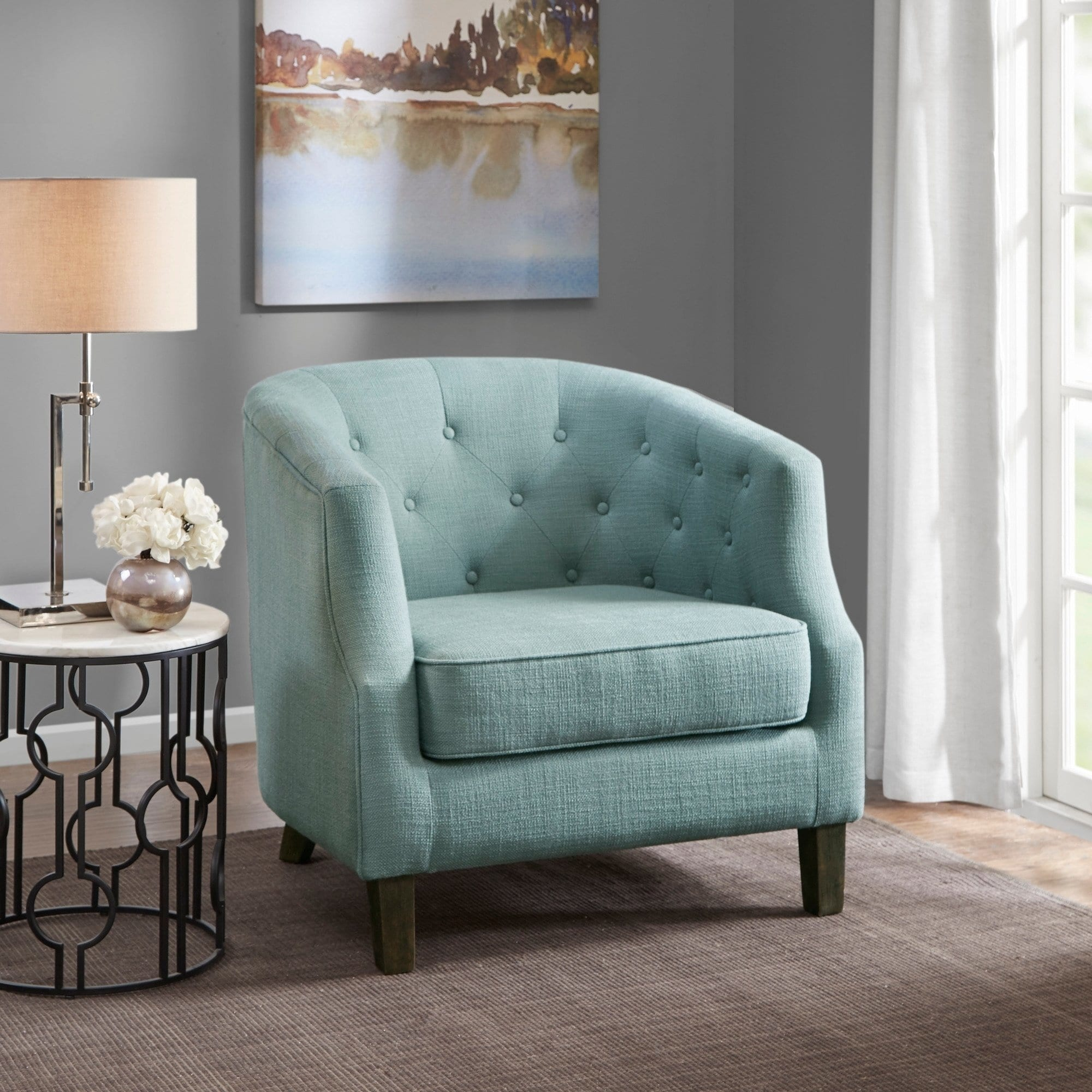 Astonishing Madison Park Aden Dusty Aqua Chesterfield Barrel Chair 33 Machost Co Dining Chair Design Ideas Machostcouk