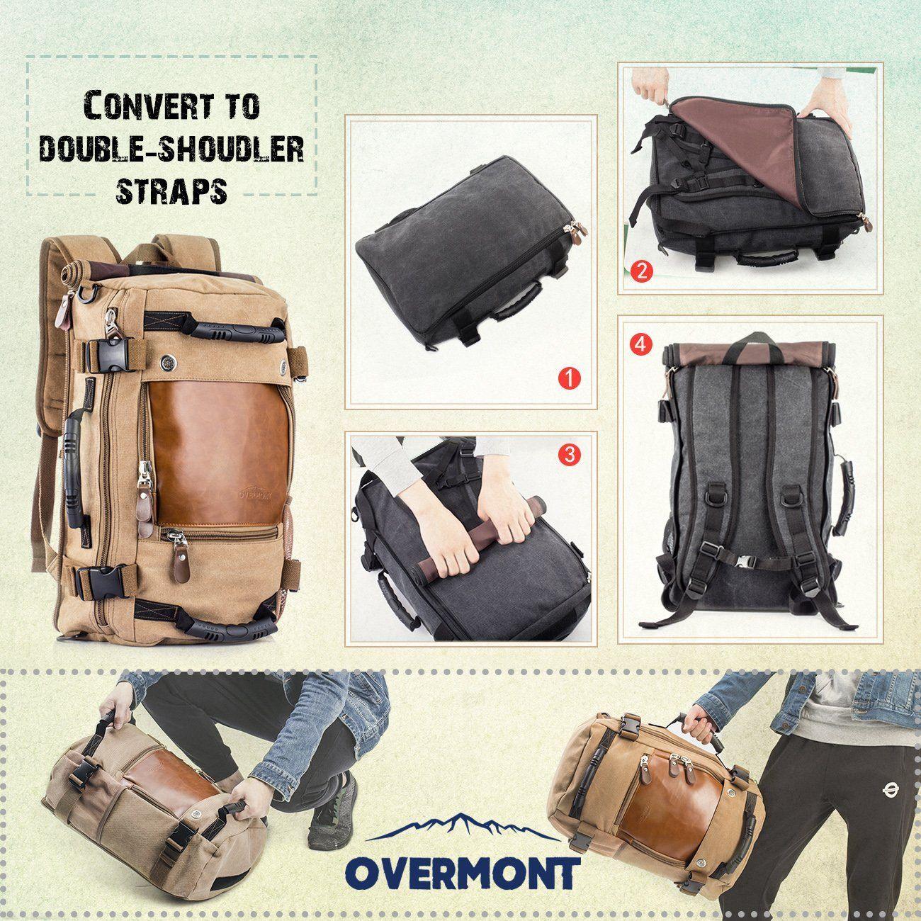Overmont 35L multifuncional portátil vintage mochila bolsa