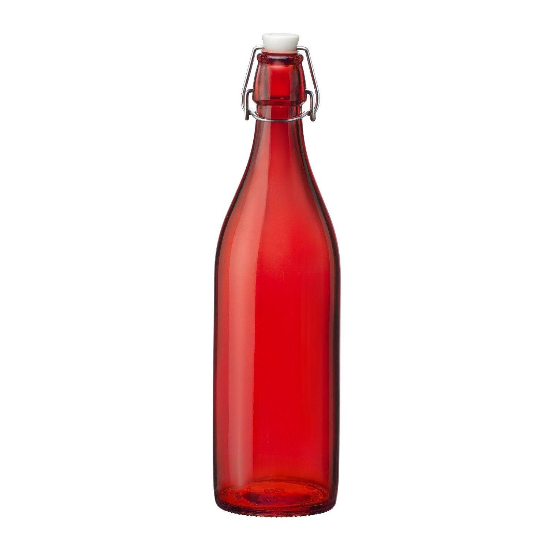 Bormioli Rocco Red Glass Bottle Glass Bottle With Stopper Colored Glass Bottles Glass Bottles