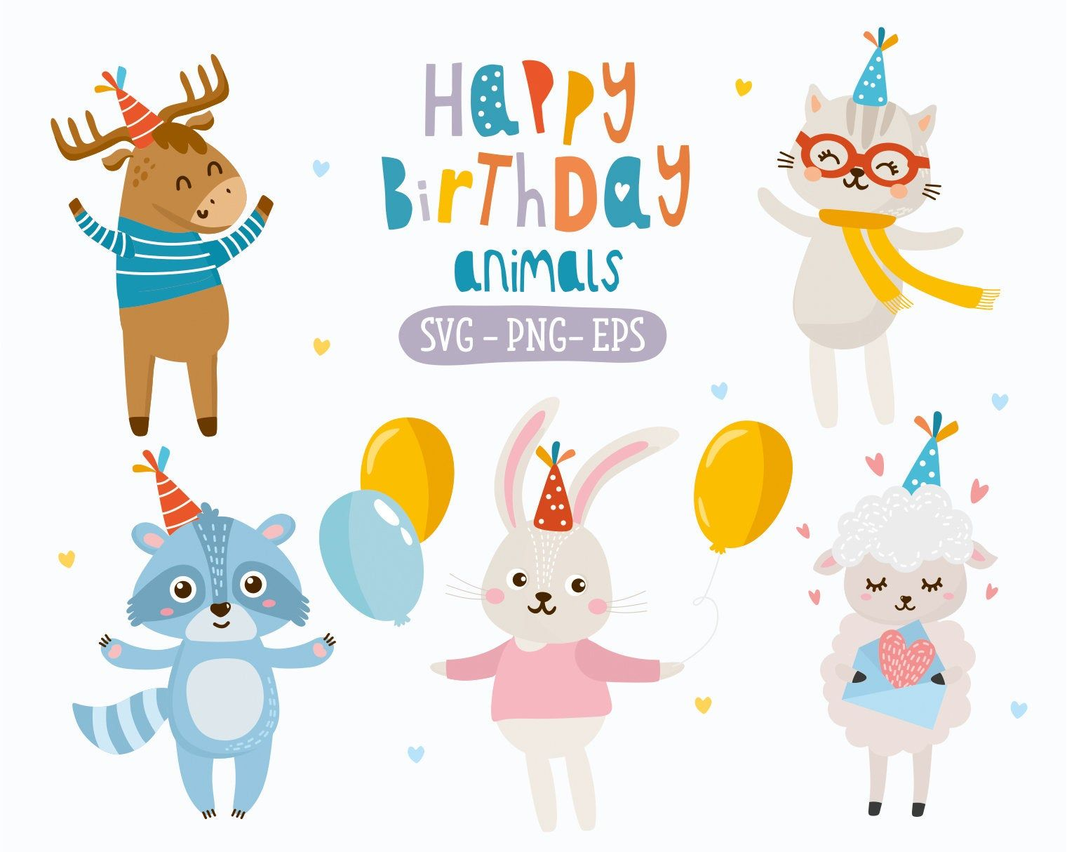 Excited To Share The Latest Addition To My Etsy Shop Happy Birthday Animals Clipart Vector Illustrati Happy Birthday Animals Animal Clipart Animal Birthday
