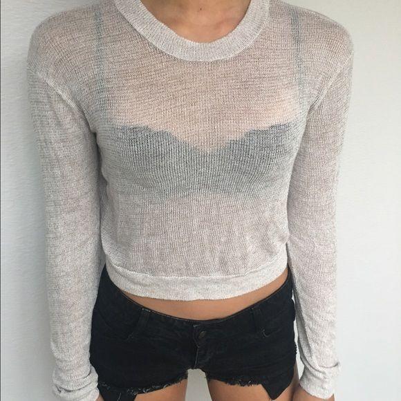 crop top sweater cream knit crop top sweater Brandy Melville Sweaters Crew & Scoop Necks