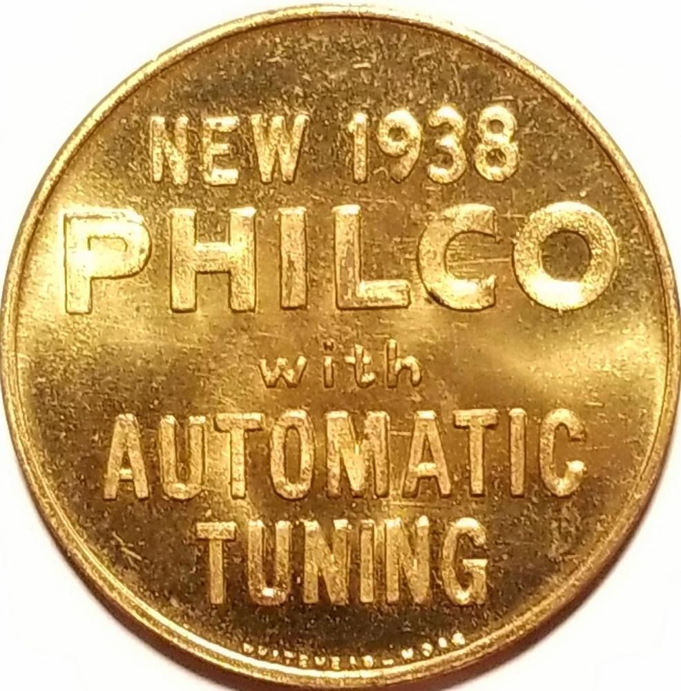 Vintage Advertising Token 1938 PHILCO AUTO TUNING FAT MAN ADJUSTING RADIO Nice