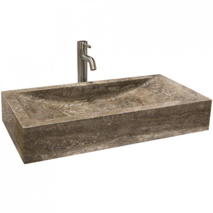 Travertine Rectangular Vessel Sink With Sloped Basin Bathroom