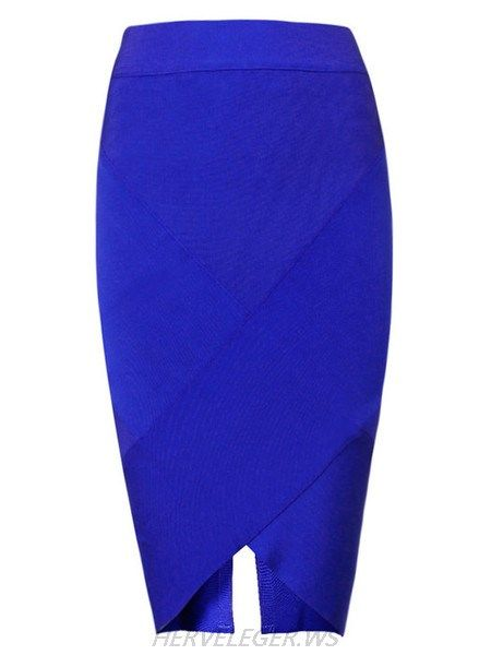 Herve Leger Navy Asymmetric Hem Bandage Skirt