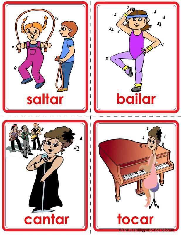 Tarjetas de verbos-español inglés120 Verb Flash Cards Picture | Verbos para  niños, Abecedario para niños, Poesía para niños