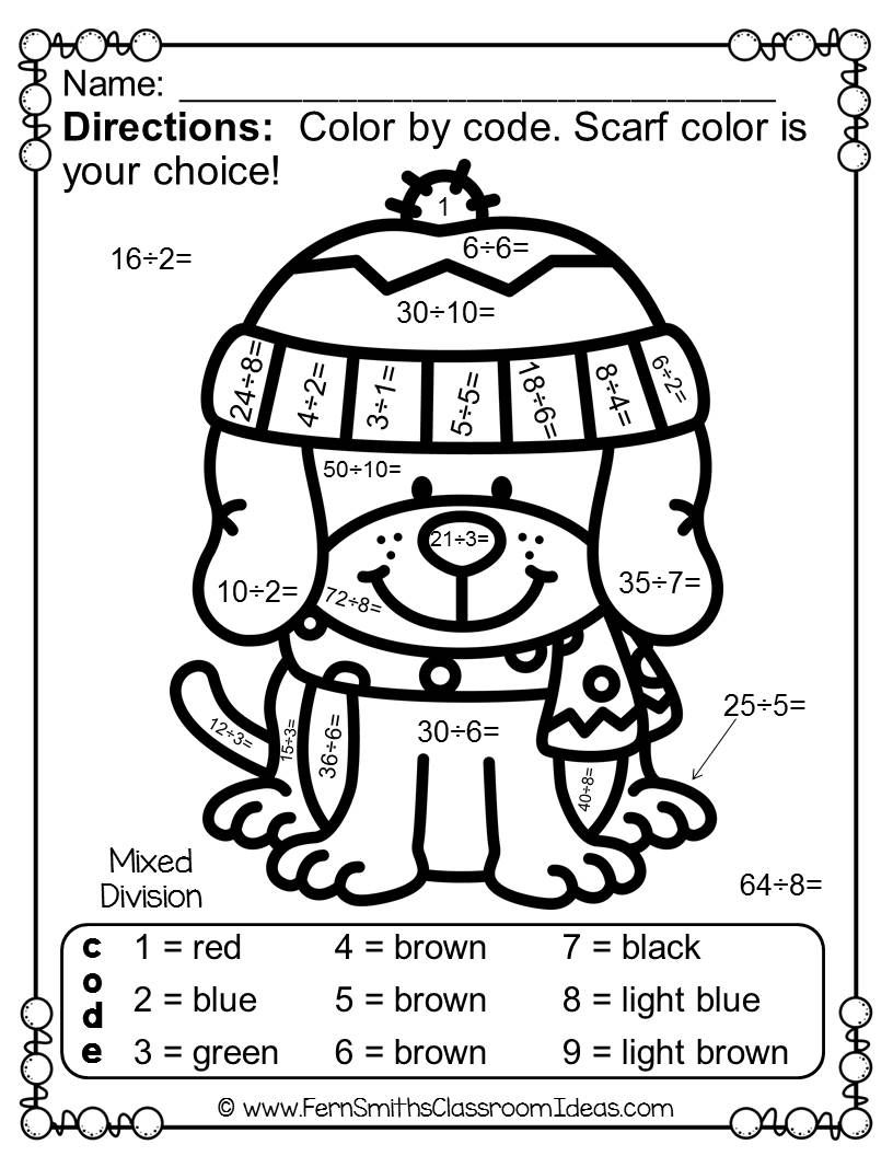 Color By Number Winter Animals Mixed Multiplication and