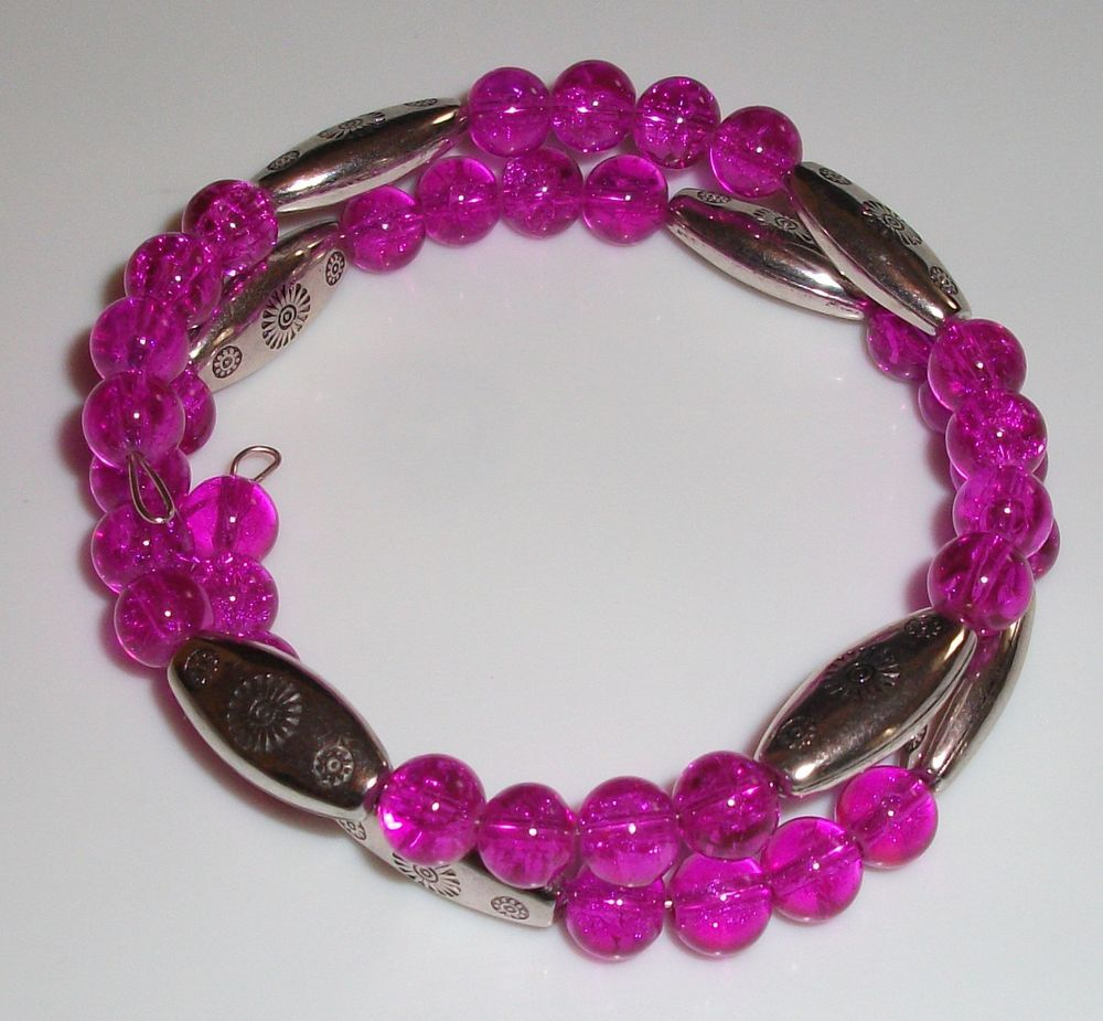 Hot Pink and silver memory wire bracelet