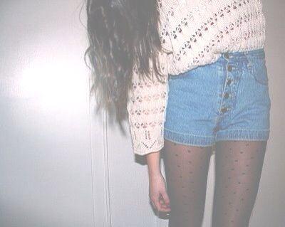 jumper, tights and high waisted fashion shorts