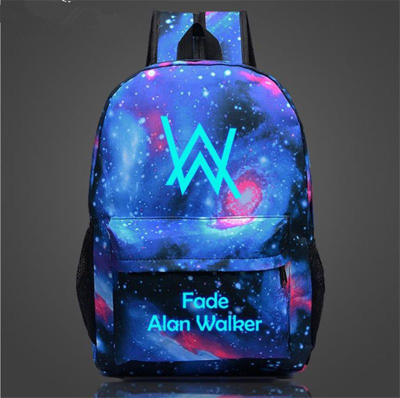 0c7f1891d788 Alan Walker Night Luminous Student Schoolbag Faded Book Bag Backpack Satchel