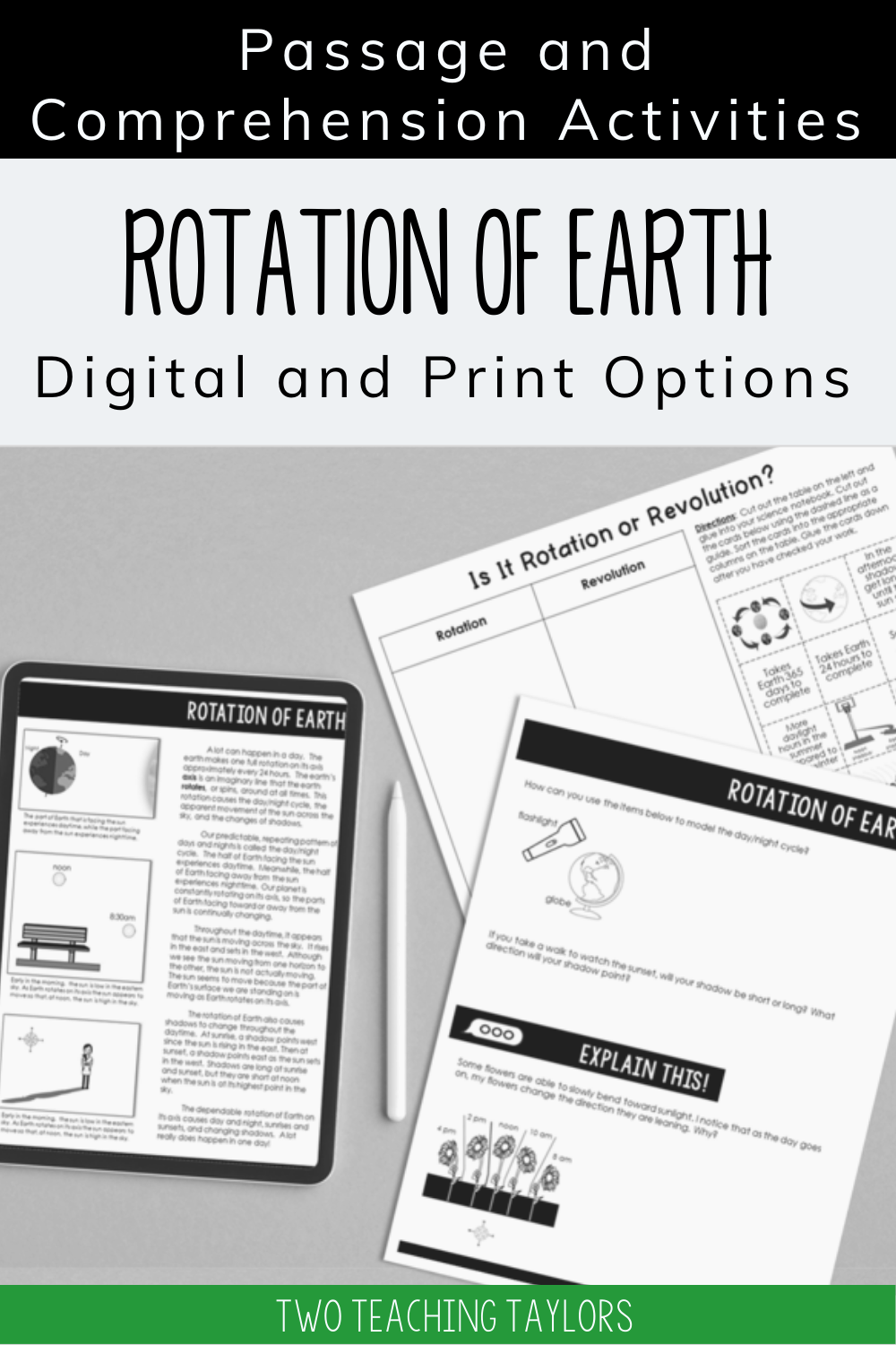 Rotation Of Earth Reading Passage With Comprehension Activities Elementary Science Classroom Comprehension Activities Reading Passages [ 1500 x 1000 Pixel ]