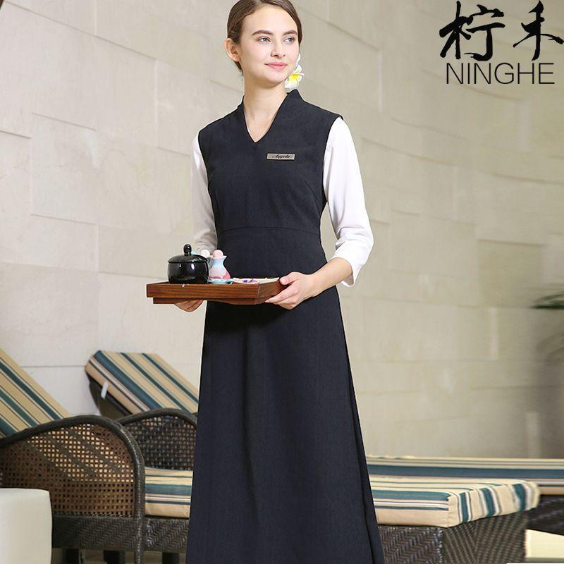 e92fceb84bd Tea And Piano House Work Clothing Chinese Style Vintage Exlong SPA Dress  Uniform Fashion Elegant V