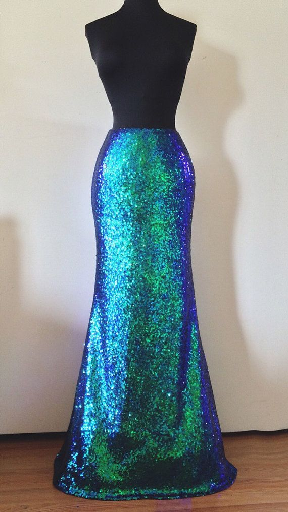 483d3211948 Green Iridescent Sequin Maxi Skirt by SPARKLEmeGORGEOUS on Etsy Sparkly  Clothes