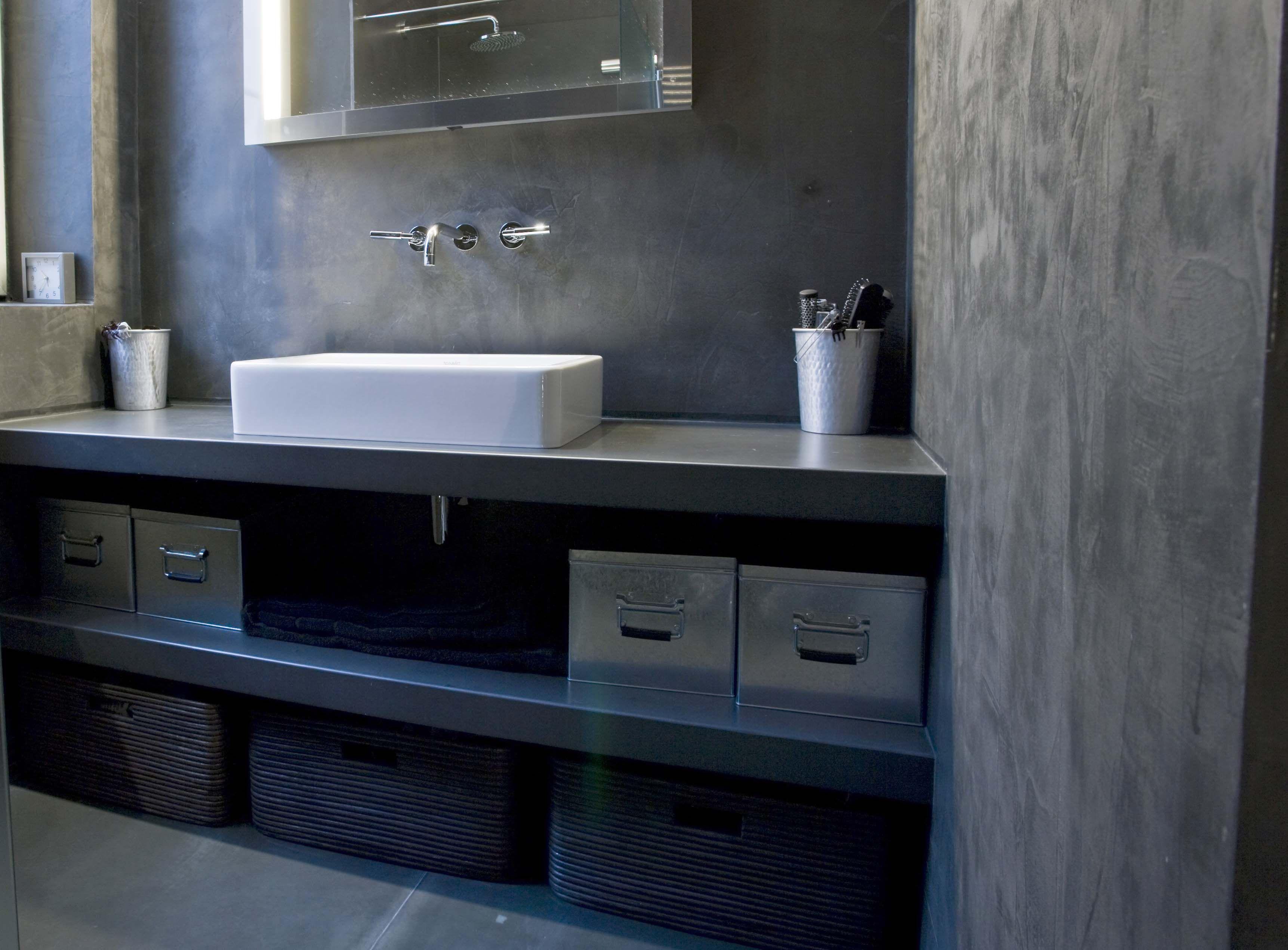salle de bain en bton cir - Cree Un Meuble Salle De Bain En Dur