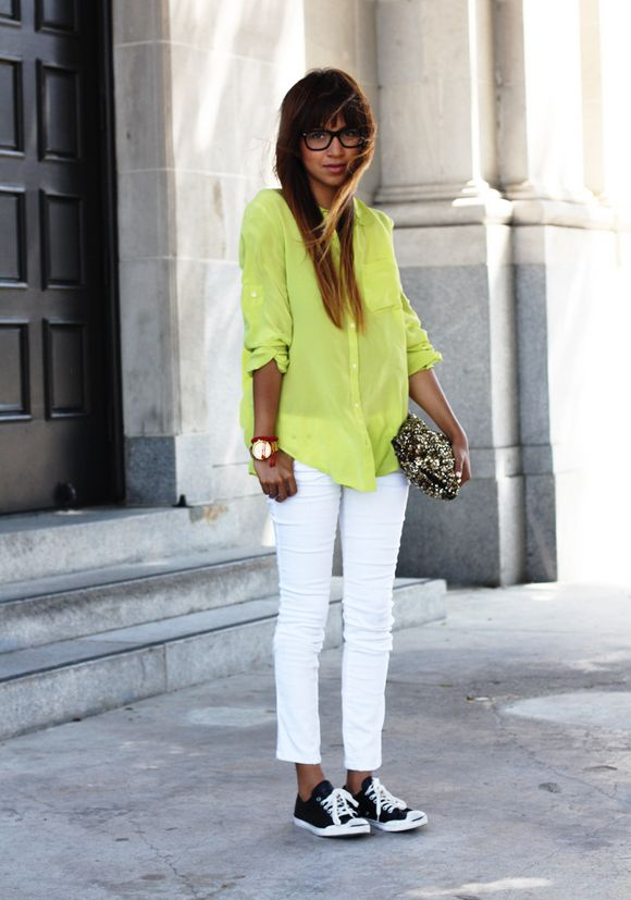 Blogger Style l Julie Sarinana (Sincerely Jules): yellow blouse x white skinny jeans x converse chucks x sequin clutch