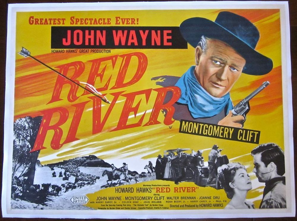 RED RIVER -ORIGINAL 1948 LB BRITISH QUAD POSTER- AMAZING JOHN ...